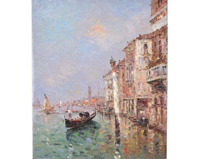 Impressionist Oil Painting Venetian Lagoon w Gondola and Striped Pole Morgan