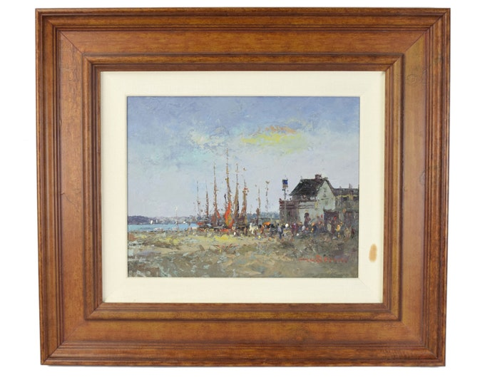 Vintage Impressionist Oil Painting of Small Charming European Fishing Village by Morgan