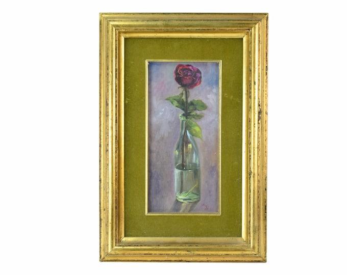 Vintage 1974 Rose in Glass Bottle Oil Painting Still Life