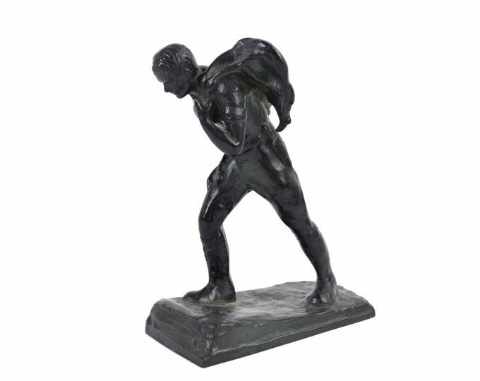 1930's Depression Era Bronze Sculpture Hunter Carrying Deer Kill by Laboyteaux