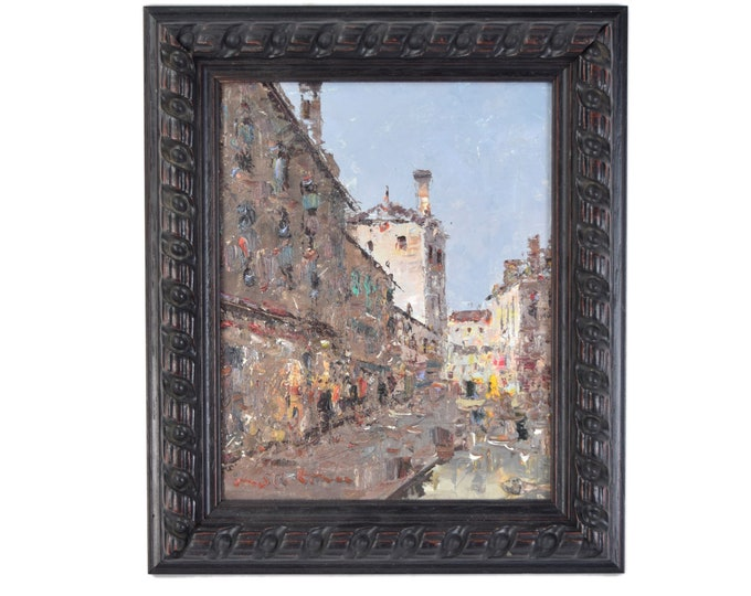 Impressionist Oil Painting of European Cityscape Architectural Street Scene