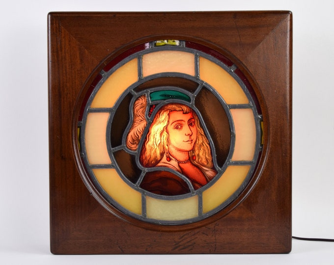Antique Stained Glass Portrait of Young Woman in Hat in Backlit Display Box