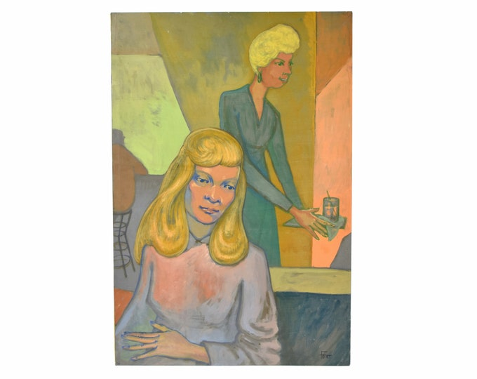 """Vintage 1950's Painting """"Model with Waitress"""" Dick Fort Chicago Nightclub Series"""