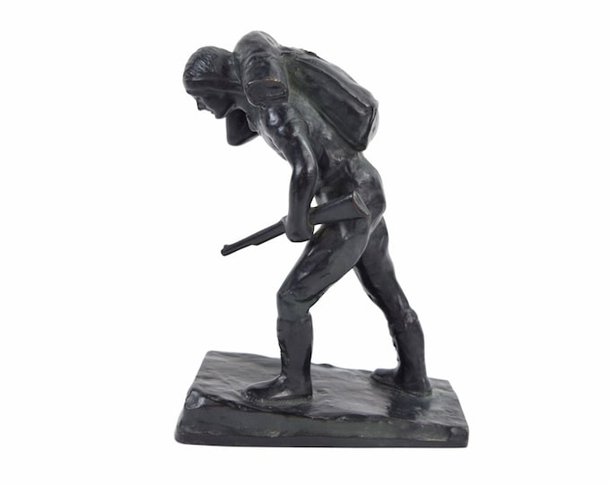 1930's Depression Era Bronze Sculpture Hunter Carrying Rifle by Laboyteaux