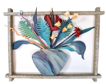 "Vintage ""Floral Bursts II"" 3D Painted Metal Sculpture Barbara Day Romero Santa Fe"