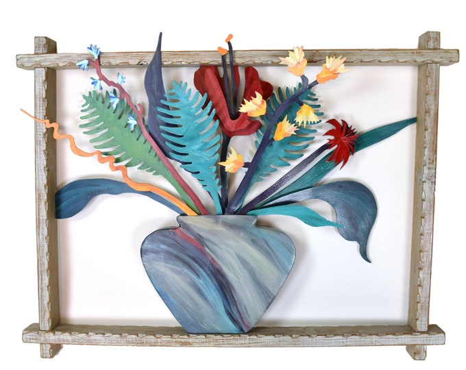 "Vintage ""Floral Bursts II"" 3D Painted Metal Sculpture Barbara Day Romero Santa Fe"