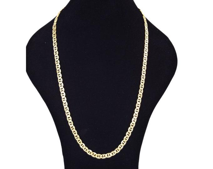 Elegant Vintage Italian 14k Solid Gold Stippled Flat Link Chain Necklace 23.5in