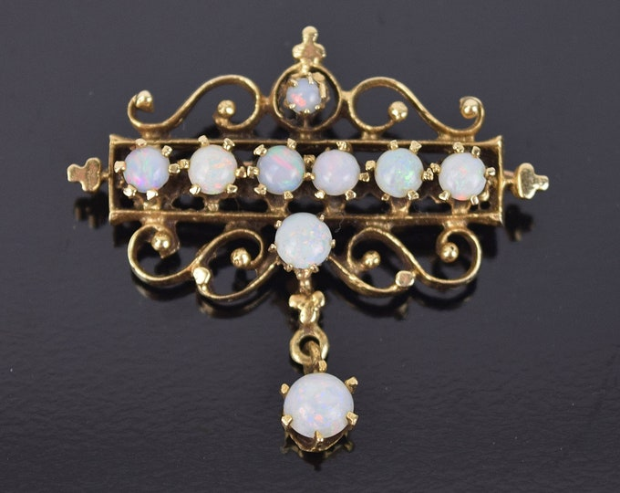 Vintage Victorian Style 14k Yellow Gold Scroll Opal Cabochon Pin Brooch