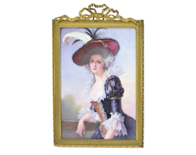 Antique Hand Painted Continental Porcelain Plaque Elisabeth of France by Brun