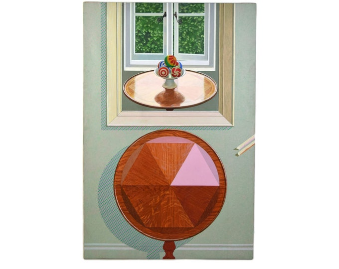 "1972 Mark Wickham Painting ""Table"" Playful trompe l oeil Surrealist Puzzle"