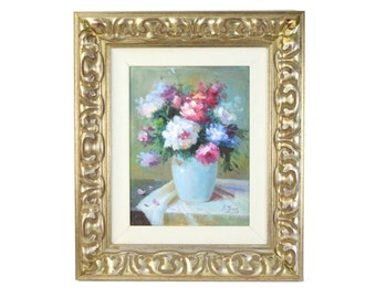 Original Impressionist Textured Oil Painting Floral Still Life in Ornate Frame signed A. Jones