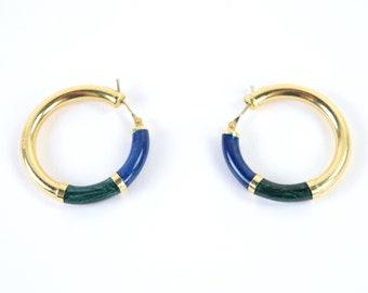 Vintage Estate 14k Solid Gold Hoop Earring Iridescent Malachite Lapis Onyx Enamel