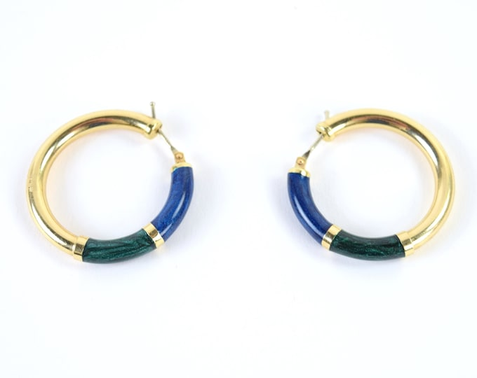 Vintage Estate 14k Solid Gold Hoop Earring Iridescent Malachite Lapis Onyx Enamel