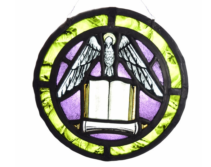 Vintage Round Stained Glass Window w Dove Atop Open Book