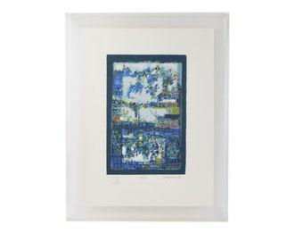 "1978 Manuel Cargaleiro L/E Serigraph ""Abstract Composition -Large Blue"""