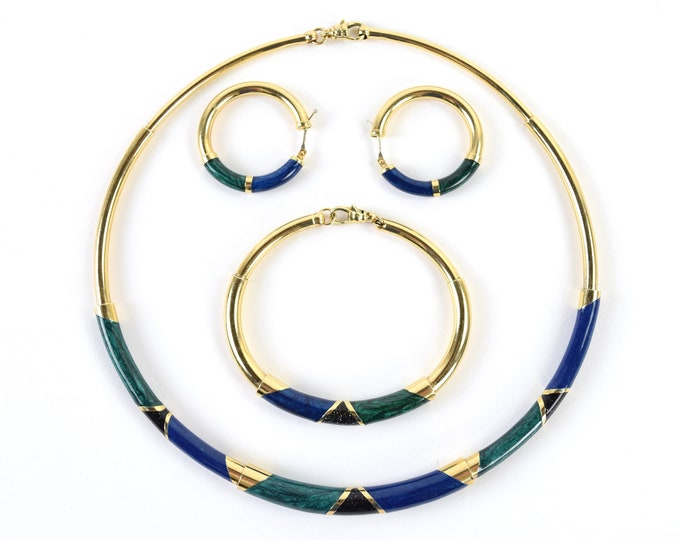 Estate 14k Gold Tube Demi-Parure Set Iridescent Malachite Lapis Onyx Enamel