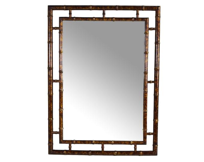 Vintage Mid-Century John Widdicomb Faux Bamboo Wall Mirror