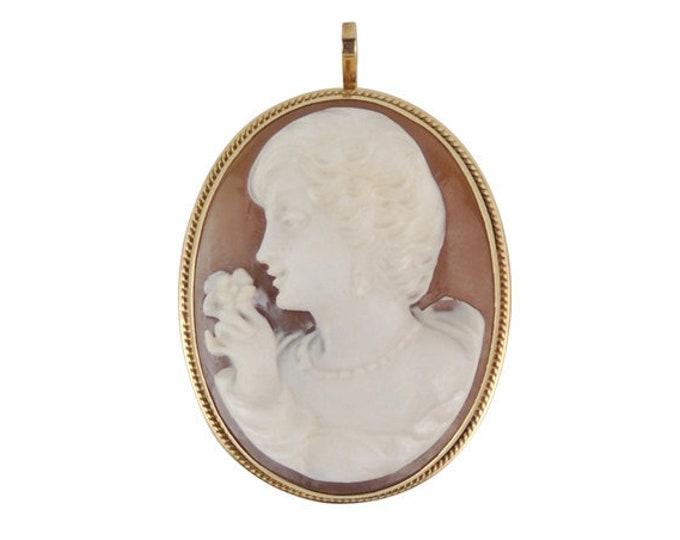 Vintage Giovanni Apa 14K Gold Carved Shell Cameo Pendant Pretty Lady Brooch