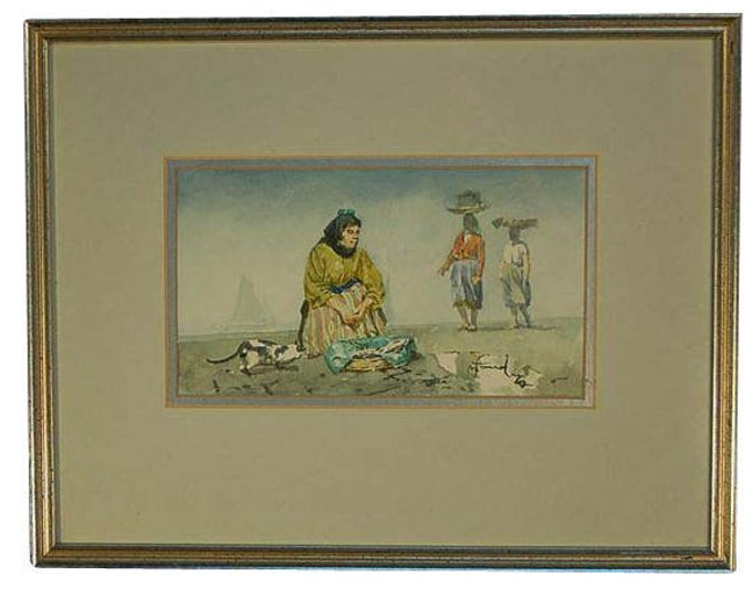 Vintage Finely Painted Watercolor Painting Fish Peddler on Beach with Cat