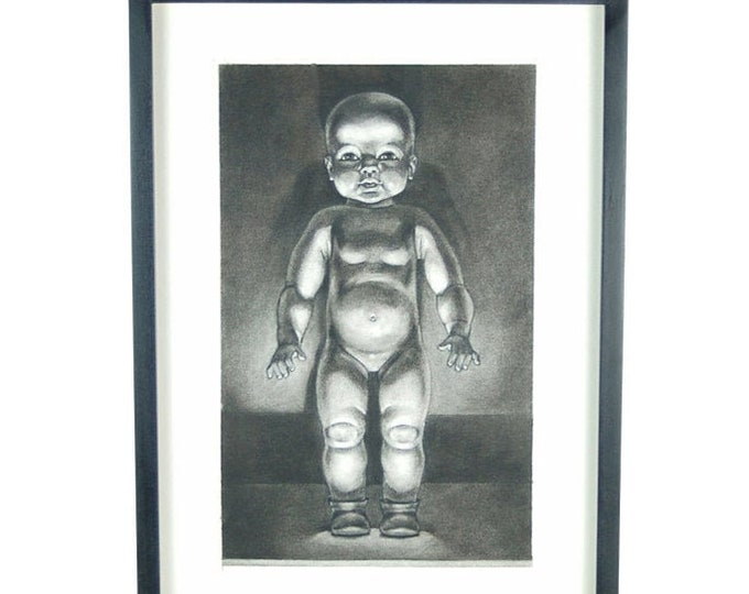 """Charcoal Drawing """"Baby Doll"""" by Kansas Artist Constance Ehrlich"""