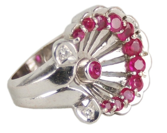 Vintage Fortune Tellers Art Deco 14k White Gold Ruby Diamond Horseshoe Palmette Anthemion Pinky Ring Sz 4