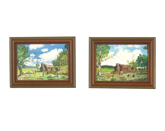 Pair of Small Impressionist Landscape Oil Paintings with Figures at Log Cabin