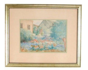 Vintage Depression Era Watercolor Painting Cottage w English Garden signed Hunt
