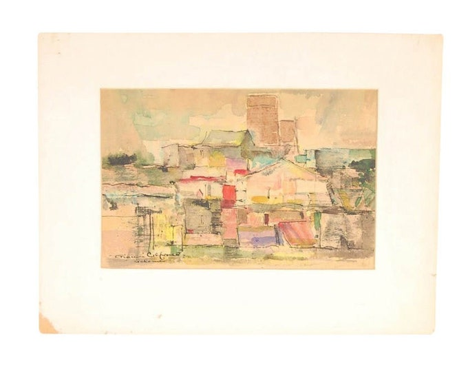 Vintage Mid-Century Modern Abstracted Architectural Streetscene Watercolor Painting by Gianni Cilfone