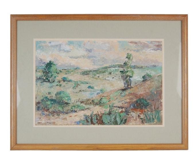 Gouache Impasto Impressionist Landscape Painting Signed Harold Ekman