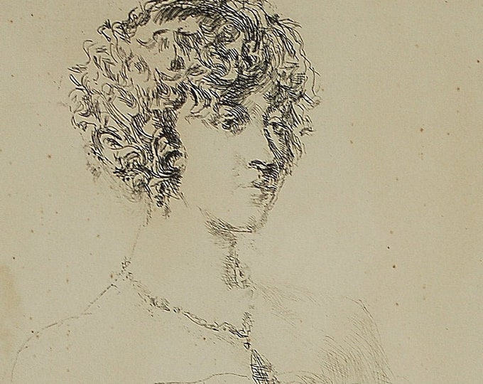 """1930s Etching of Beautiful Woman In Strapless Dress """"The Necklace"""" by Ben Edgar Shute"""
