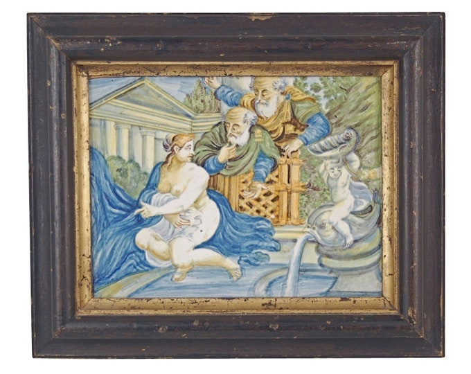 18th Century Castelli Plaque Nude Susanna & the Elders