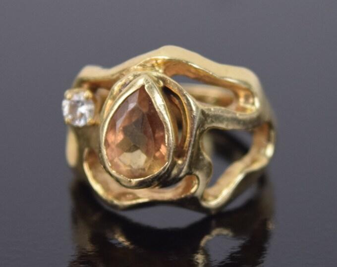 Vintage Brutalist Modernist Biomorphic Ring 14k Gold w Diamond and Teardrop Citrine