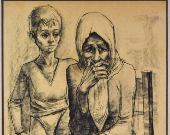 1958 Mid-Century Original Charcoal Drawing Old Woman w Circus Boy by Locca