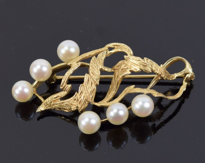 Vintage Estate Fine 14k Solid Gold Brooch Leafy Foliage w 6 Pearls