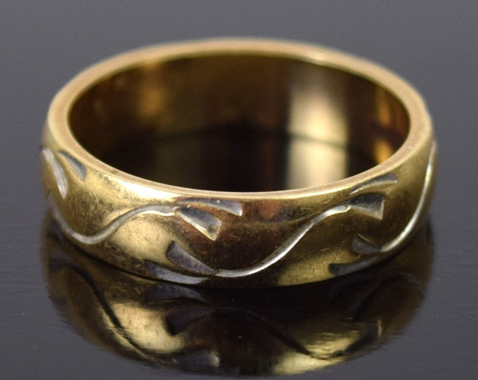 Vintage Mid-Century 14k Solid Gold Wedding Band Ring Engraved Wave Pattern