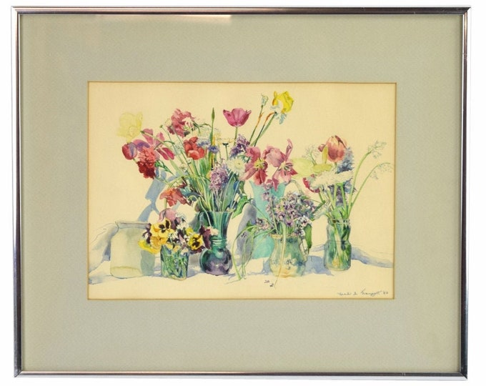 Vintage Finely Rendered Floral Watercolor Painting by Leah Traugott Indiana