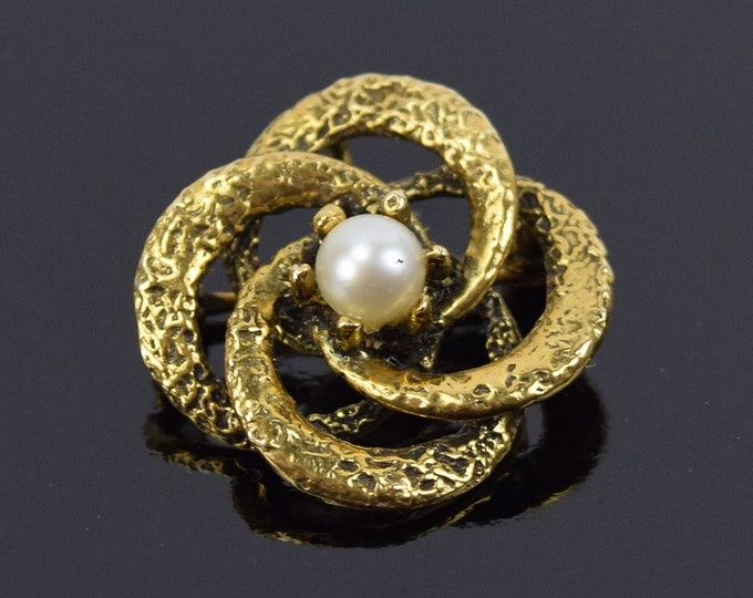 Gorgeous Vintage 14k Solid Gold Infinity Swirls Brooch w Pearl Solitaire
