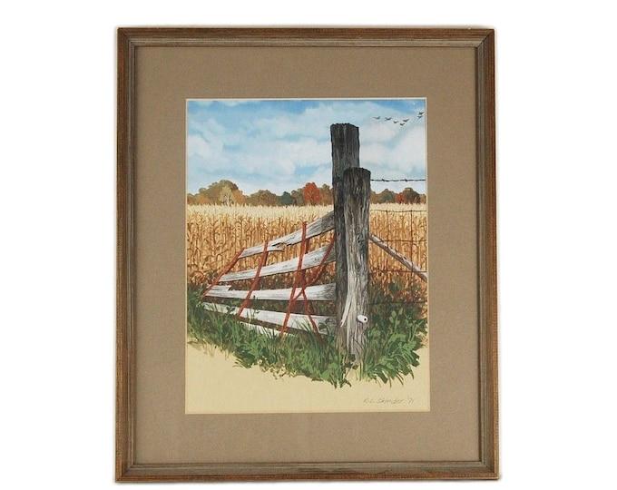 Vintage Watercolor Painting Rural Scene Dilapidated Gate w Cornfields