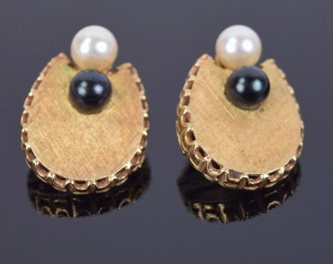 Elegant Vintage Midcentury Estate Pair 14k Brushed Florentine Gold Earrings Onyx & White Pearls