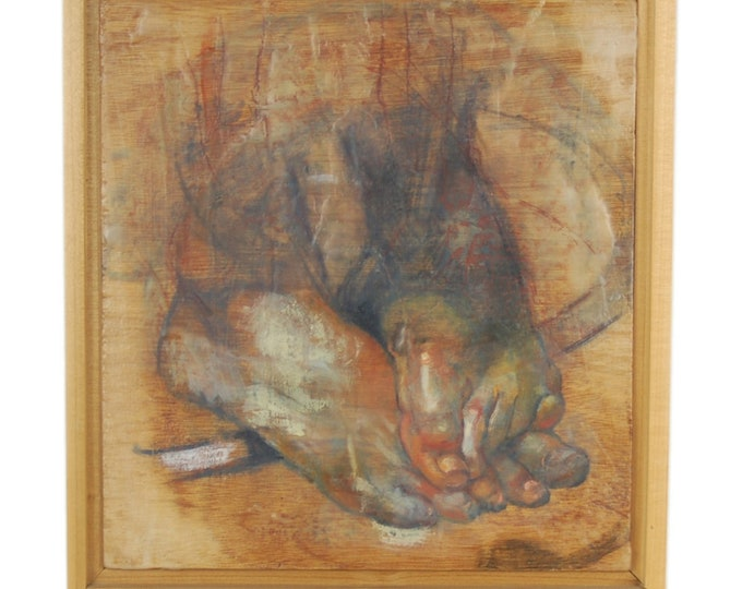 """Encaustic Painting on Wood """"The Caress"""" Couples Feet  by Davison"""