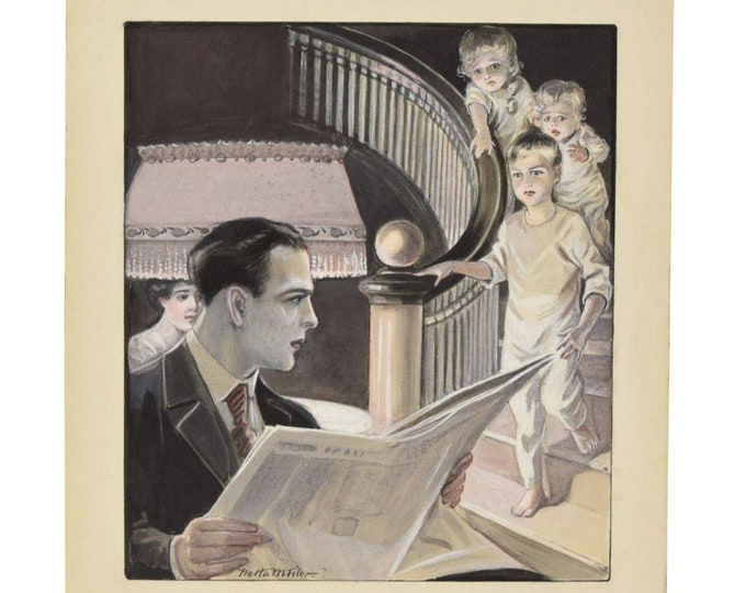 1920's Illustration Painting 3 Scared Kids Coming Downstairs to See Dad Michigan Artist