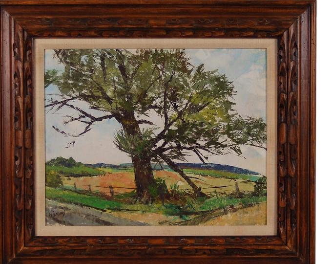 "Circa 1950's Oil Painting ""Old Landmark"" near Algonquin Illinois by Sanders"