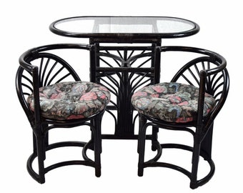 Vintage Art Deco Style Compact Rattan Breakfast Table 2 Chairs