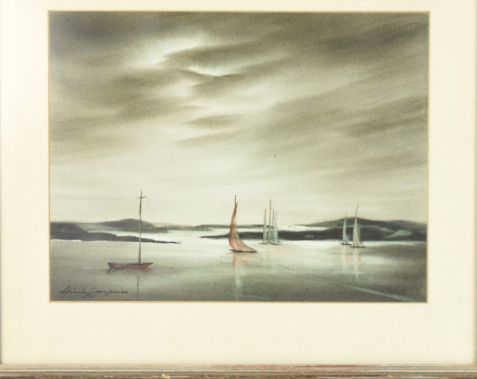 1966 Watercolor Sailboats Under Darkening Skies Shirley Jasper Wisconsin