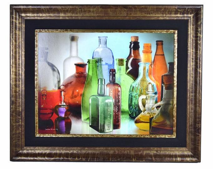 """Yankel Ginzburg """"Murano"""" Photorealist Painting Antique Glass Bottles"""
