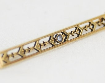 Estate Vintage Art Deco 14k Yellow Gold Geometric Bar Pin Brooch w/ blue Sapphire Center Stone