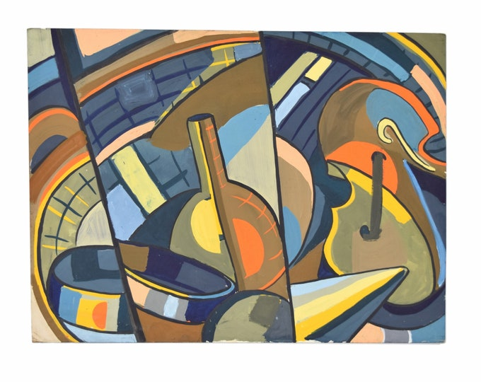 Cubist Mid-Century Modern Abstract Gouache Painting Chicago Artist Dick Fort