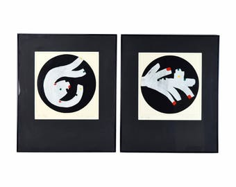 "Pair Vintage Modern Abstract Oil Paintings ""Night Games I & II""  Ron Raye"