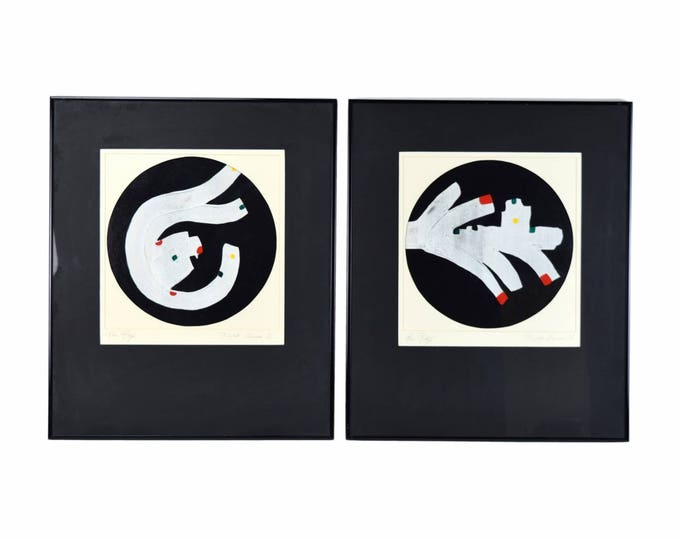 """Pair Vintage Modern Abstract Oil Paintings """"Night Games I & II""""  Ron Raye"""