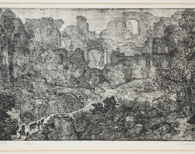 """Dutch Engraving """"de tocht"""" The Trip Ancient Ruins by Ank Spronk 1975"""
